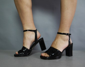 Black Platform Sandals by BATA Patent Leather Peep Toe Platform Chunky Heel Strappy Shoes Vintage 90s Size 38