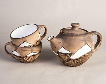 Ceramic teapot Mountains, Glazed pottery 900ml