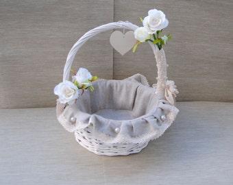 Wedding basket, rustic wedding decor, vintage wedding, flower girl basket, shabby chic basket, lin wedding baskets, lace flower girl basket