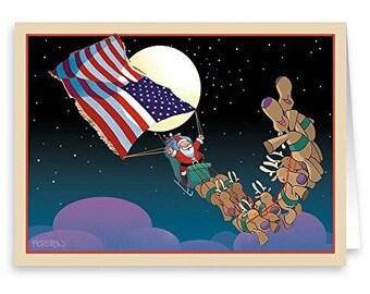 Patriotic Santa Christmas Card 18 cards/ 19 envelopes - 20042