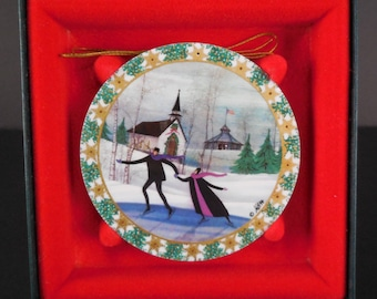 P Buckley Moss Christmas Skaters 1994 Porcelain Christmas Ornament MIB w/Cert
