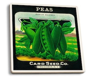 Peas (early AK) - Vintage Seed Packet (Set of 4 Ceramic Coasters)