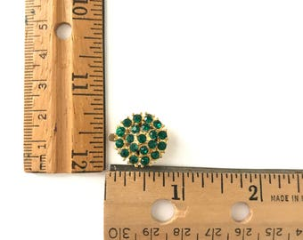 Vintage Gold with Green Rhinestone Clasp