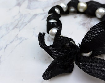 Handmade Pearl Ribbon Woven Bracelet  //  gifts for her  // bridesmaid gifts