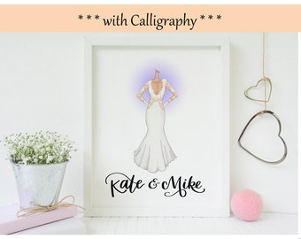 Custom Wedding Dress Illustration Print - W/ Calligraphy Added