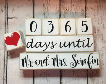 Days Until Wedding Countdown. Countdown to Wedding. Countdown Mr. and Mrs. Personalized with Last Name Countdown Blocks. Distressed Blocks.