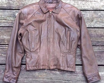 SEA DREAM Thermolite Insulated Brown Leather Biker Motorcycle Jacket Men's XS
