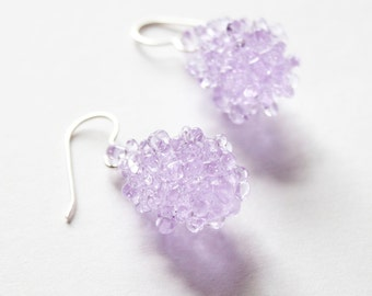 Glass Cluster Ball Earrings - Lilac