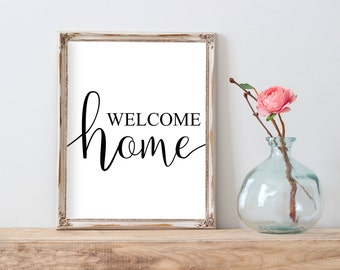 Welcome Home Printable, Welcome Home Print, Welcome Home Wall Art, Welcome Home Quote, Welcome Home Decor, Housewarming Gift Farmhouse Print