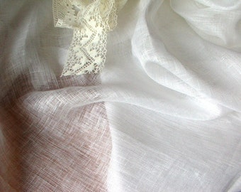 Sheer Gauze Linen-Eyelet Voile-White Thin Transparent Linen Fabric-Thin Linen Tissue-DIY projects-Wholesale Available