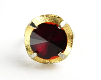 Vintage Huge Rivoli Red Garnet Solitaire Ring - 4 Carats - Round Cut Glass - January Birthstone - Adjustable