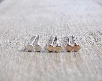 Rose Gold Sterling Silver Gold Fill Post Earrings 2.5mm