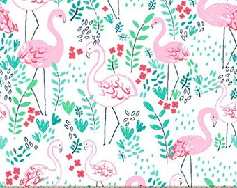 Let's Flamingle Flamingos on White from Dear Stella Design's Life's a Beach Collection