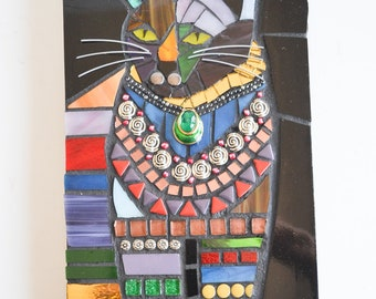 Cat in the Kitchen - Indoor Mixed Media Mosaic Wall Hanging