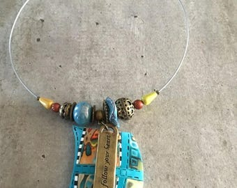 necklace with polymer clay endant - new collection