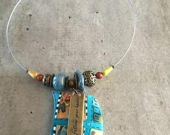 Collier ras de cou -Pendentif turquoise - Nouvelle collection