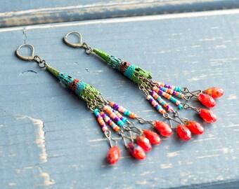 Rainbow Earrings- Boho Jewelry- Boho Earrings- Gypsy Earrings- Gypsy Jewelry- Beaded Earrings- Boho Fairy- Fairy Earrings- Fairy Jewelry