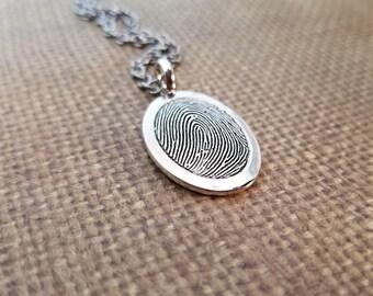 INK-1 LARGE framed oval FINGERPRINT Necklace in solid Fine .999 Silver-includes chain