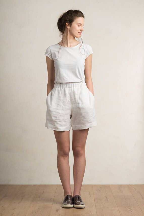 Linen shorts Linen women's clothing White shorts women