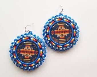 Blue Native Print Beaded Earrings
