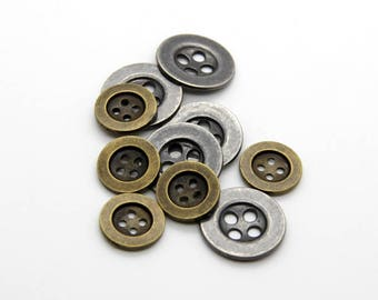 10 Pcs 0.59~0.79 Inches Retro Anti-silver/Bronze 4 Holes Metal Shell Buttons For Suits Shirts