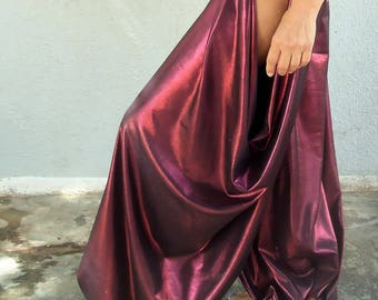 CUSTOM MADE Crimson metallic Pantaloons, the open hip harem pant.-Bloomers- Wide Leg Pants. Tribal Fusion belly dance