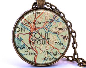 Seoul Map Pendant Necklace - Created from a 1960 map. Map Jewelry, Map Necklace, Map Pendant, Custom Jewelry, Personalized Jewelry