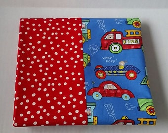 Pillowcase Item #33: cars and trucks on a red background