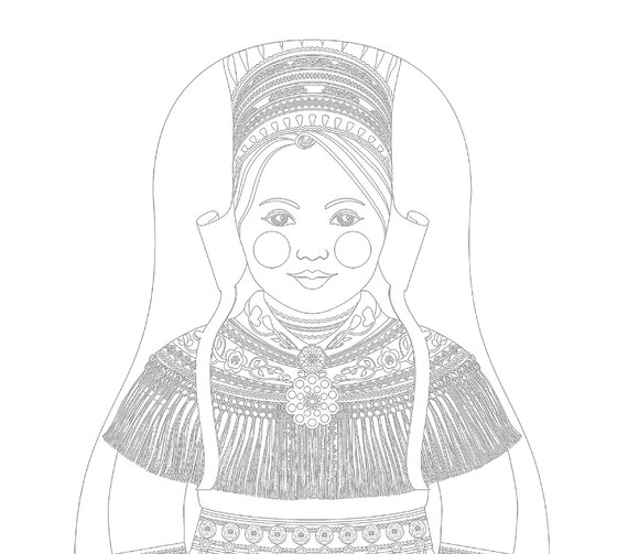 Sami Doll Folk Dress Coloring Sheet Printable Matryoshka