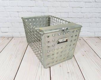 Vintage Industrial Metal Locker Basket