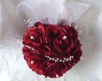 Red rose kissing ball rose pomander wedding flower ball