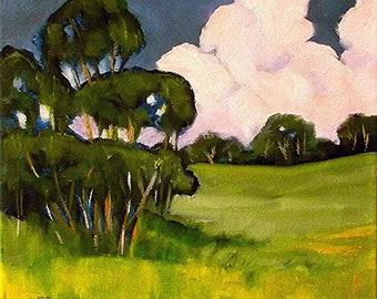 California Plein Air Landscape Painting Impressionist Eucalyptus Spring Art Lynne French O/C 12x12