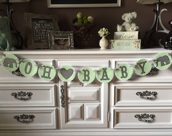 Elephant Oh Baby Shower Banner, Gender Neutral Baby Shower Banner, Mint and Silver