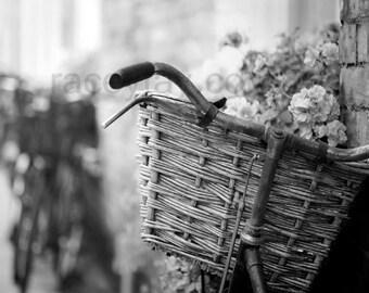 Black and White Bike Print, Paris Photography, Bedroom Wall Art, Paris Print