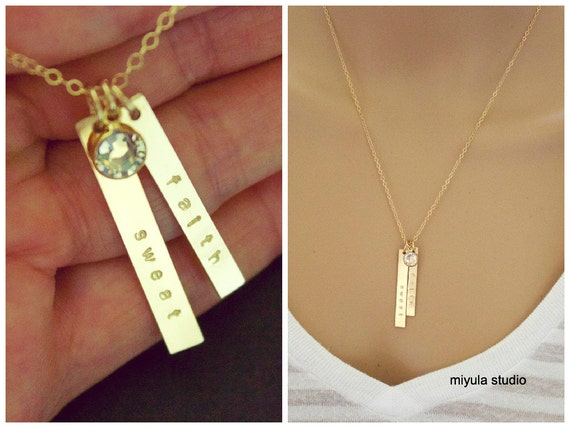 main material birthstone necklace vertical bar product with