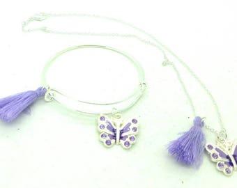 Girls butterfly necklace and bangle bracelet