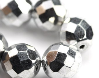 Czech Glass Beads Fire Polished Faceted Rounds 12mm Silver (8) CZF723