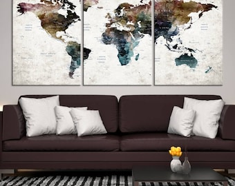 XLarge 3 Panels Watercolor Push Pin World Map Canvas Print, Dark-Coloured Push Pin Travel Map with Country Names on White Grunge Background