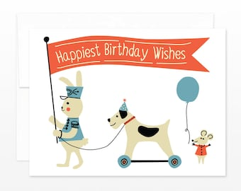 SALE! Cute Child Birthday Card - Vintage Toy Parade Birthday Greeting Card - Happiest Birthday Wishes - card for children, card for kids