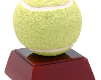 Color Tennis Ball Resin Award - 4 Inches Tall - Tennis Trophy - Free Personalization