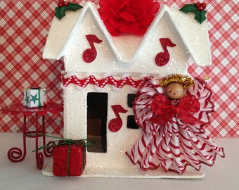 Christmas House, Glitter House, Angel, Musical Angel, Christmas Decor, Christmas Decoration, Winter Decoration, Christmas Music