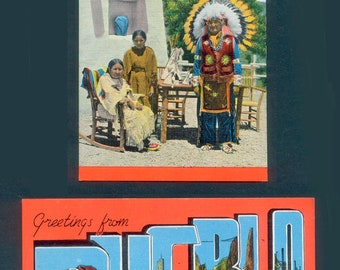 Two Vintage Greetings From Pueblo - Indians In Scenic Colorado - Linen Postcards