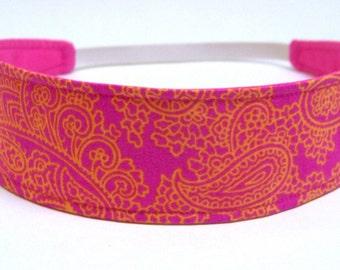 Headband  Reversible  Fabric  -  Hot Pink, Fuchsia, Tangerine, Paisley, Floral   -   Headbands for Women - MIMI