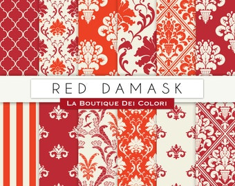 Red damask digital paper. red and brown digital paper pack of red damask backgrounds patterns for commercial use clipart