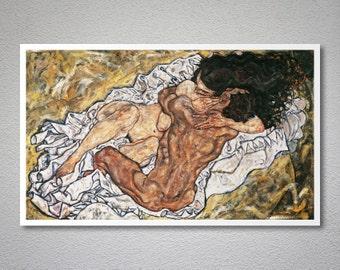 Egon Schiele - Umarmung (Liebespaar) - The Embrace (Couple II), 1917, Poster Print, Sticker or Canvas Print / Gift Idea