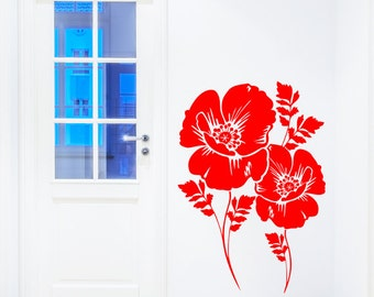 Poppy Flower Wall Sticker - Poppies Floral Art Vinyl Decal Transfer - by Rubybloom Designs