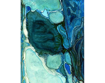 Abstract watercolor, teal blue turquoise, modern art print, small wall art, Colonization: Blue Wallpaper 4 (Blue Cove)