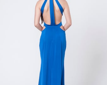 Royal Blue Evening Dress, Prom Dress, Bridesmaid Dress, Elegant Dress, Long Maxi Prom Dress, Open Back Dress, Floor Length Dress, Blue Dress