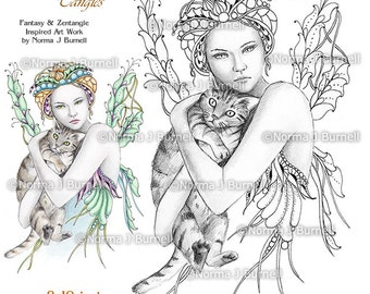 Fairy Tangles Printable Adult Coloring Sheets Norma J Burnell Fairies and Cats to color Fairy Coloring Book Pages Gray Scale images to color