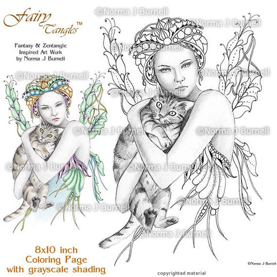 fairy tangles printable adult coloring sheets norma j burnell